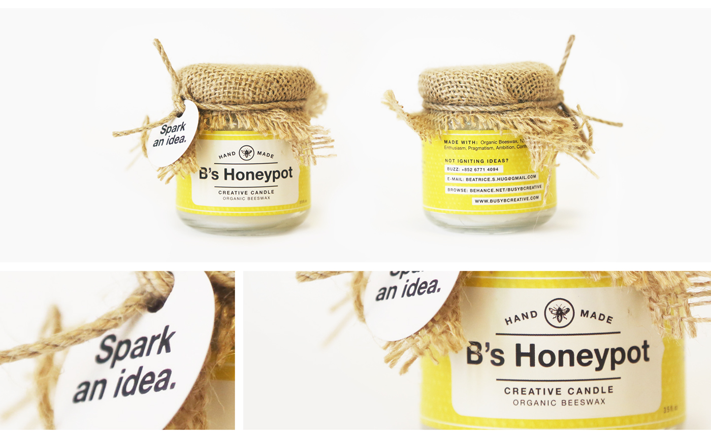 Self Promotion bees candle DIY branding