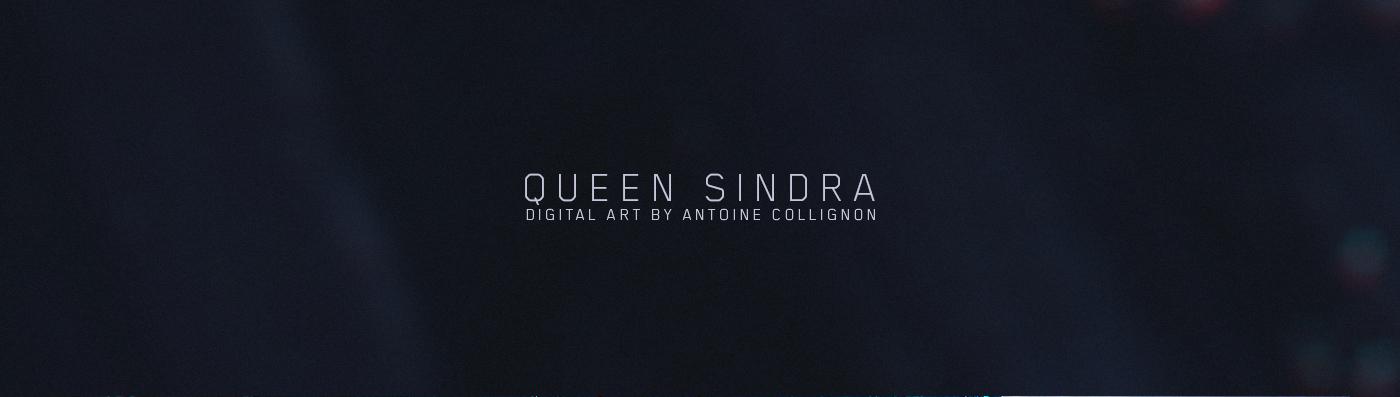 queen Sindra omegear Antoine Collignon artwork art dark blue Cyborg concept art concept Giger robot Cyberpunk