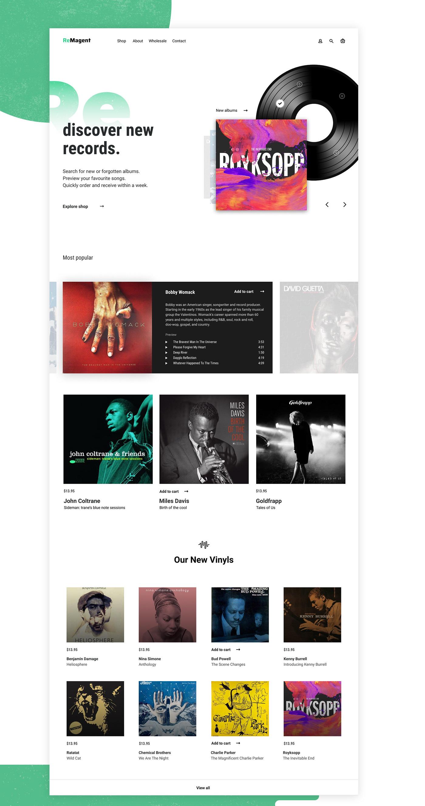 vinyl LP Record music Album UI/UX Web Design  contemporary light shop Ecommerce