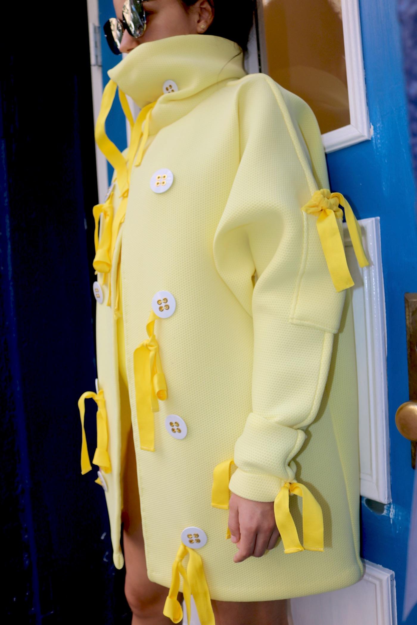 yellow Dolman neoprene oversized