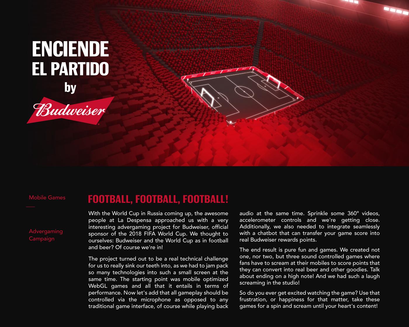 football FIFA stadium scream advergaming development mobile lights sports arcade