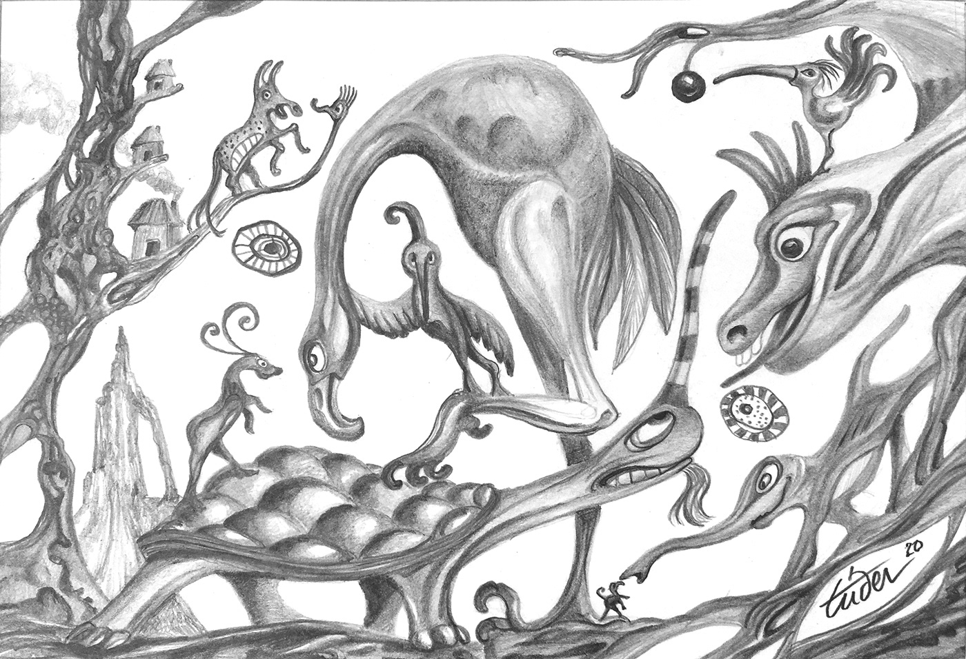 crayon dessin ILLUSTRATION  imaginaire noir et blanc Surrealisme surrealiste animaux imaginaires Dessin au crayon paysage imaginaires