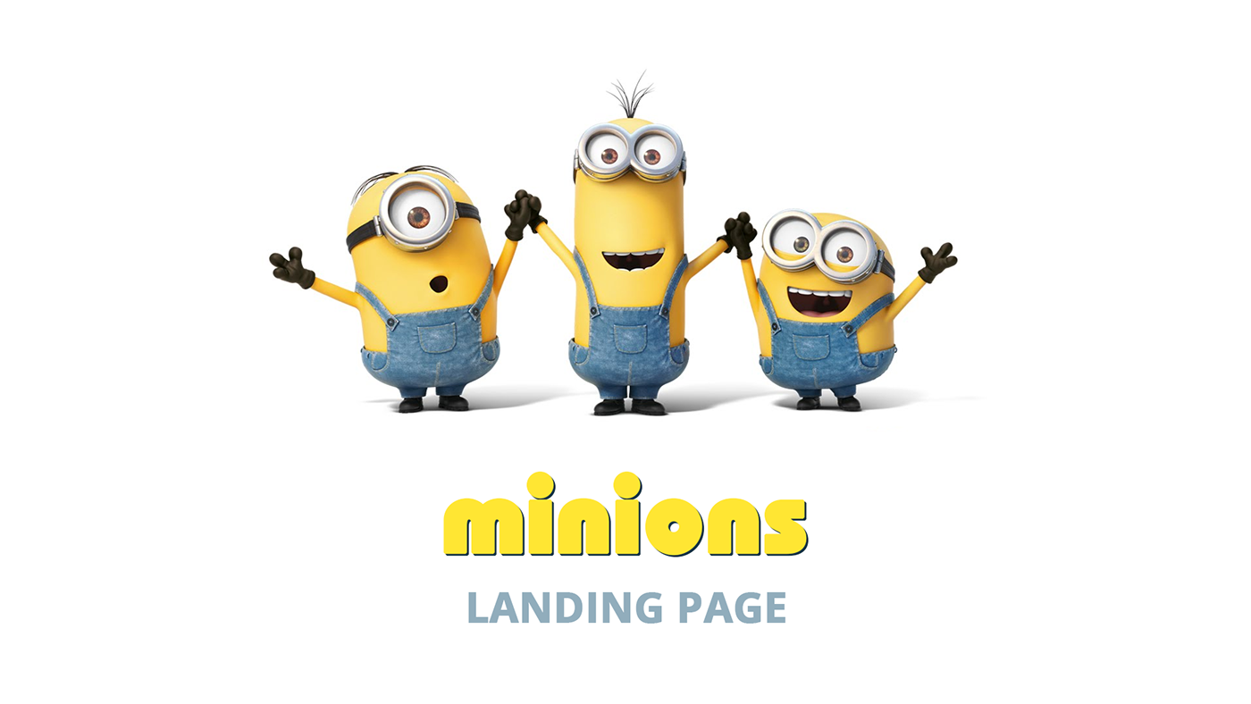 minions yellow landing page One Page funny UI/UX Design clean modern product feature movie despicable me cool Web Long page