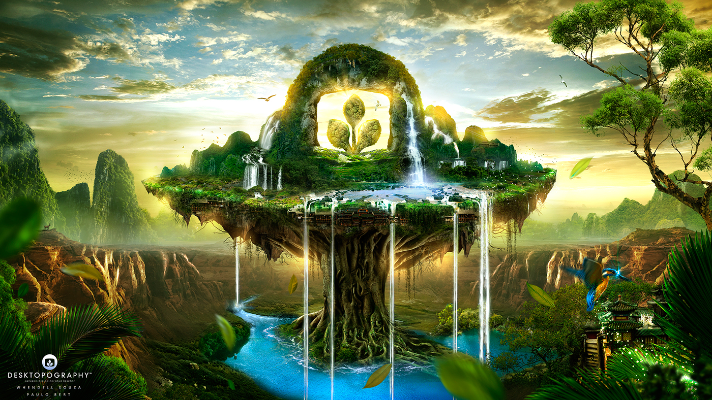 desktopography Nature Wallpapers Exhibition  Theme animals valleys Paintings clouds SKY fantasy worlds creation
