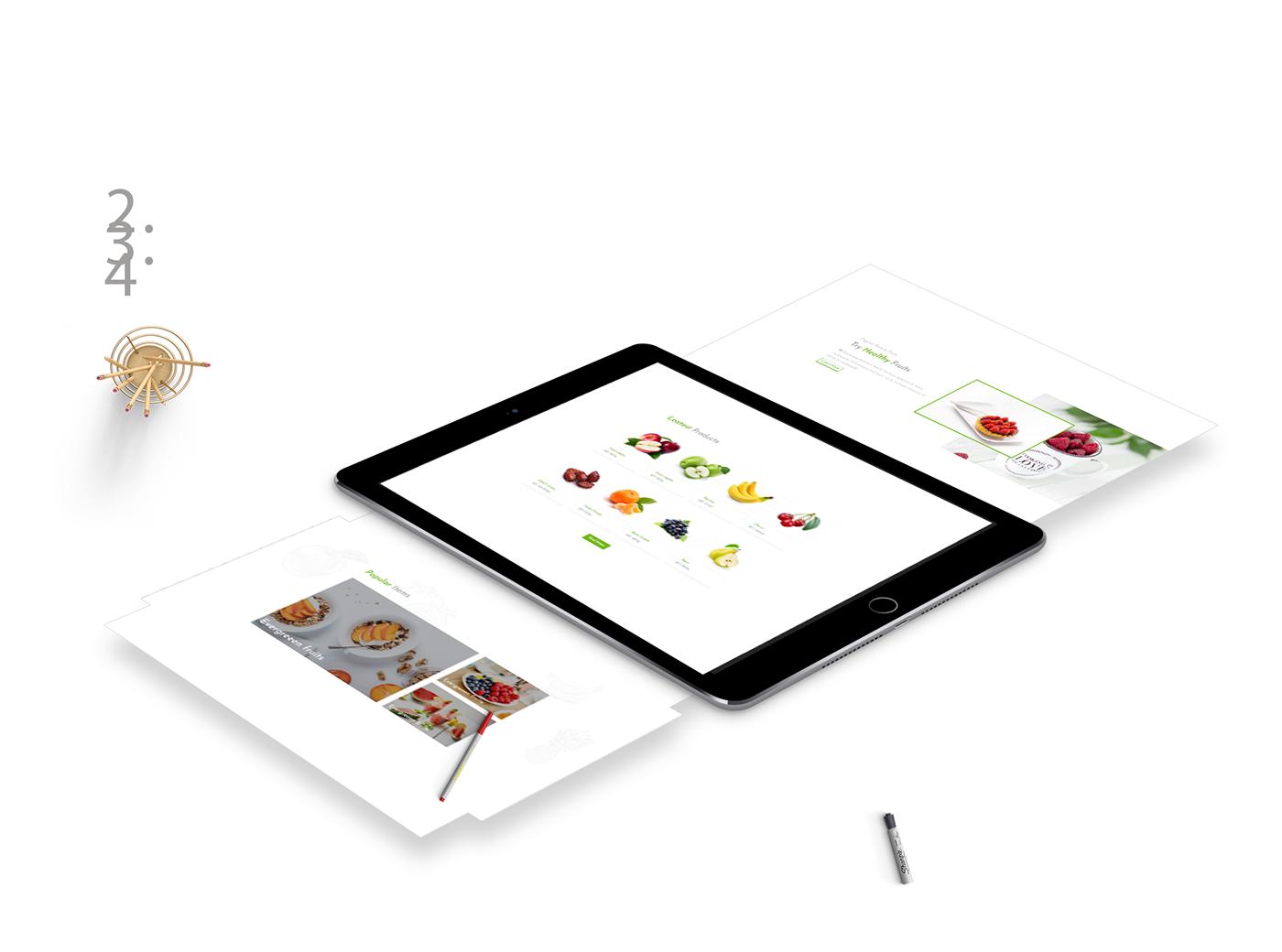 Web Design  fruits website Web Template E COMMERCE Shopping business minimalistic branding  Creative Design