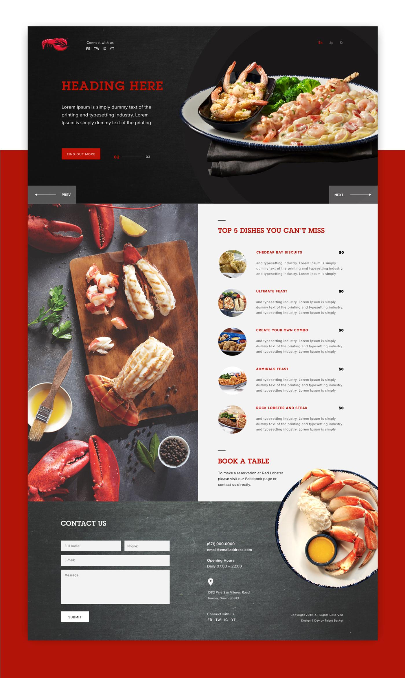 Red Lobster seafood Restaurant Website landing page UI ux menu Food Website Webdesign Website