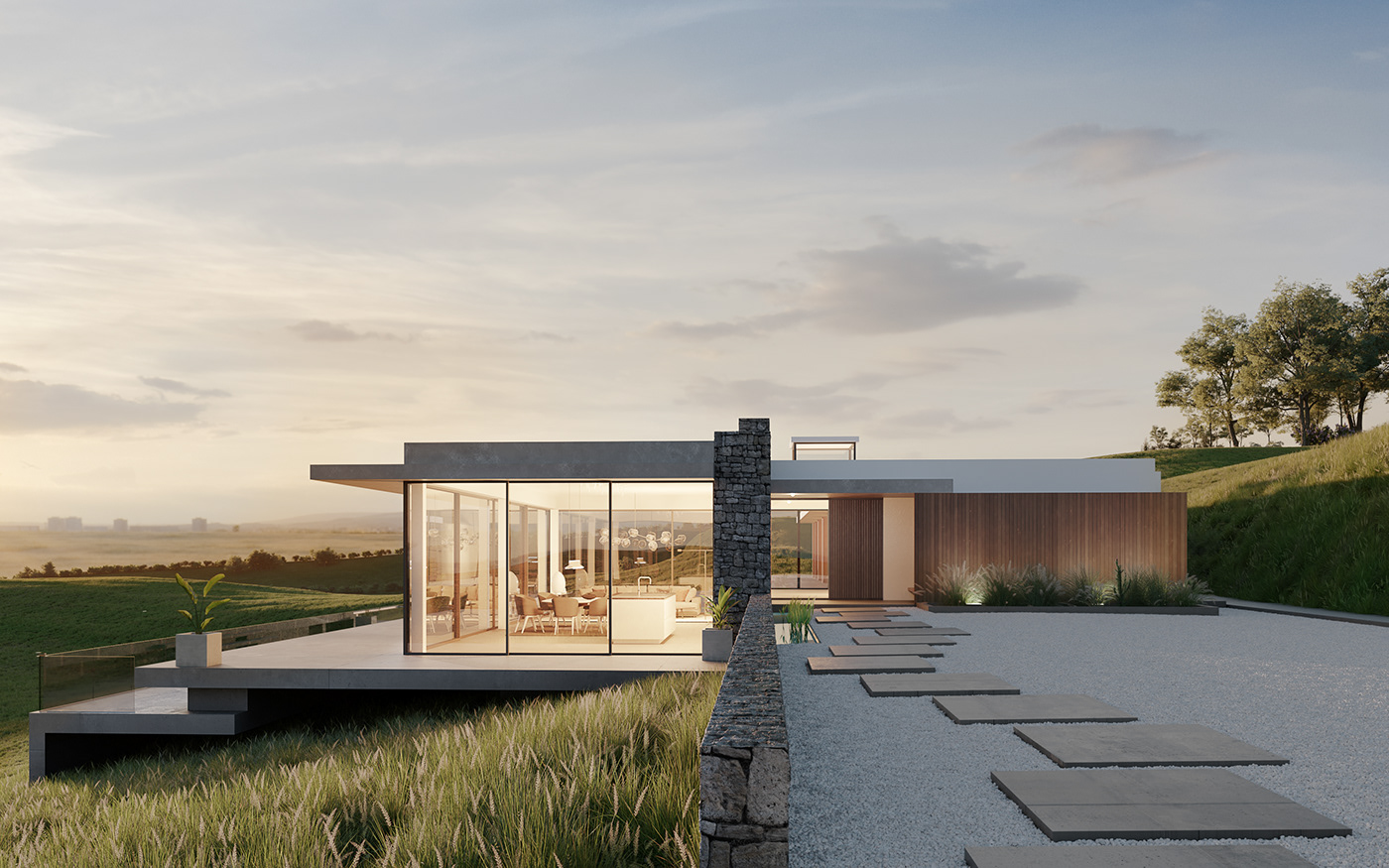 3dsmax corona render  field home house luxury Villa visualization