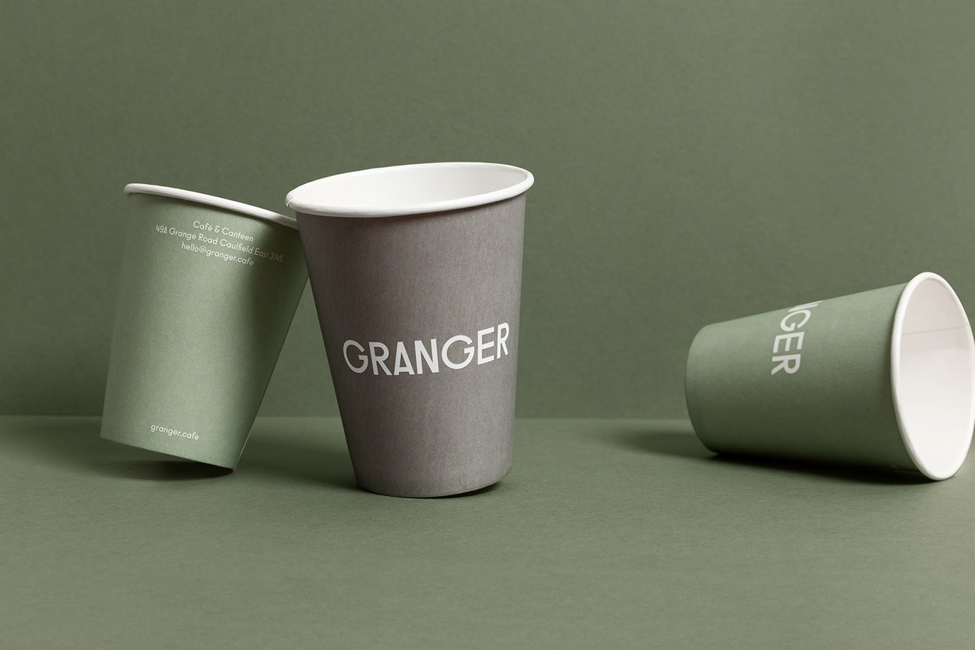 granger cafe business card coffee cup menu Signage green