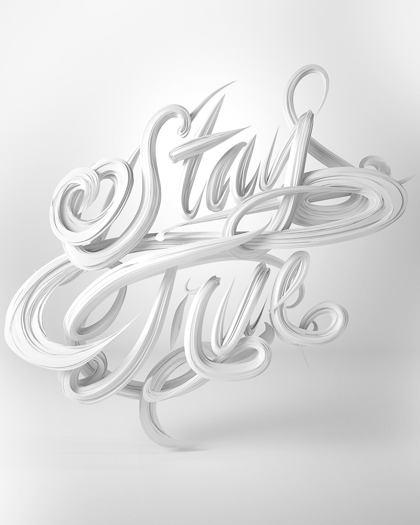 typography   type 3D CG lettering Script cursive cinema 4d octane Calligraphy