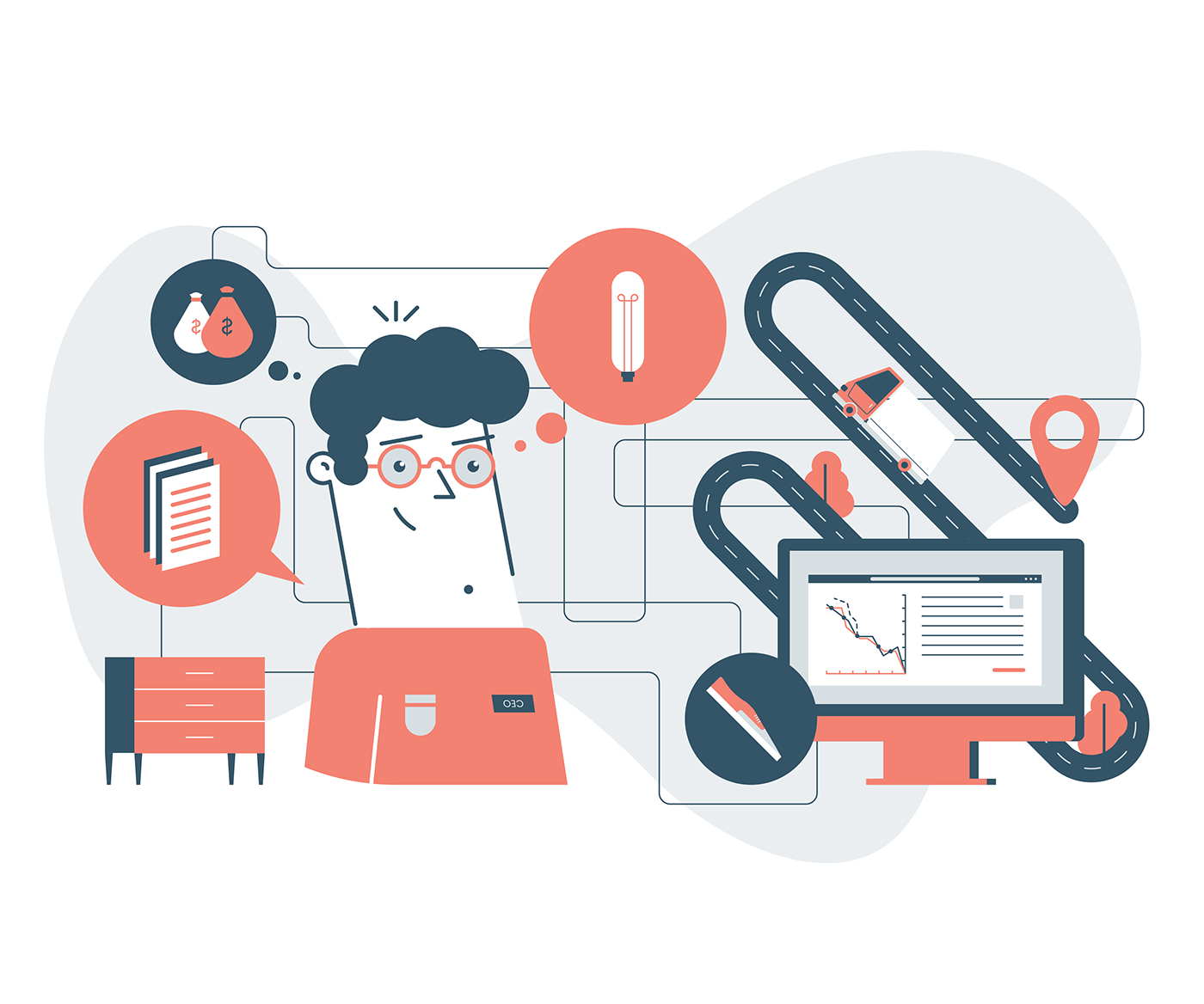 illustrations branding  artificial intelligence ai machine learning brochure icons landing page