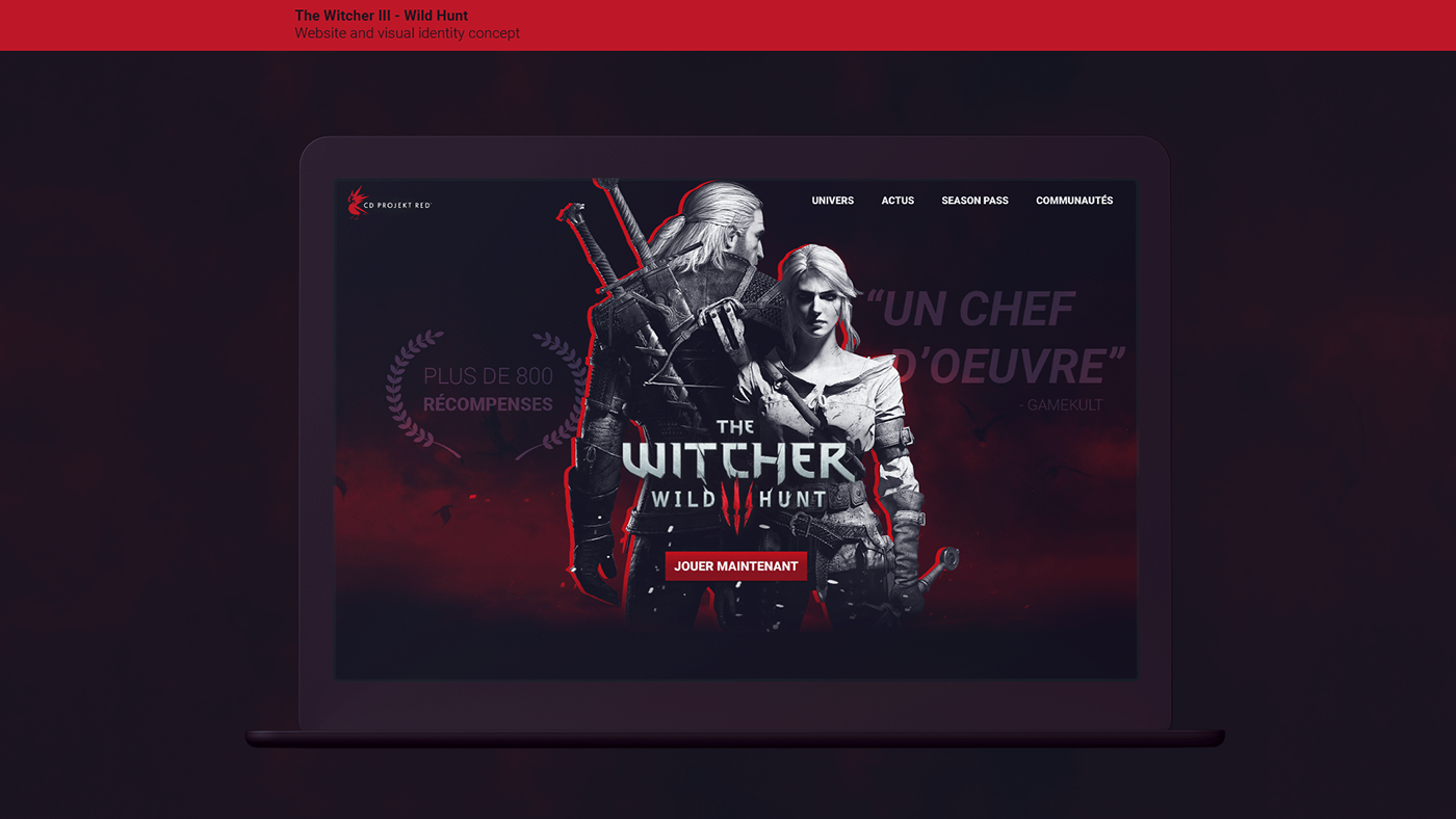 The Witcher III website landing page concept. Black and white with red highlights