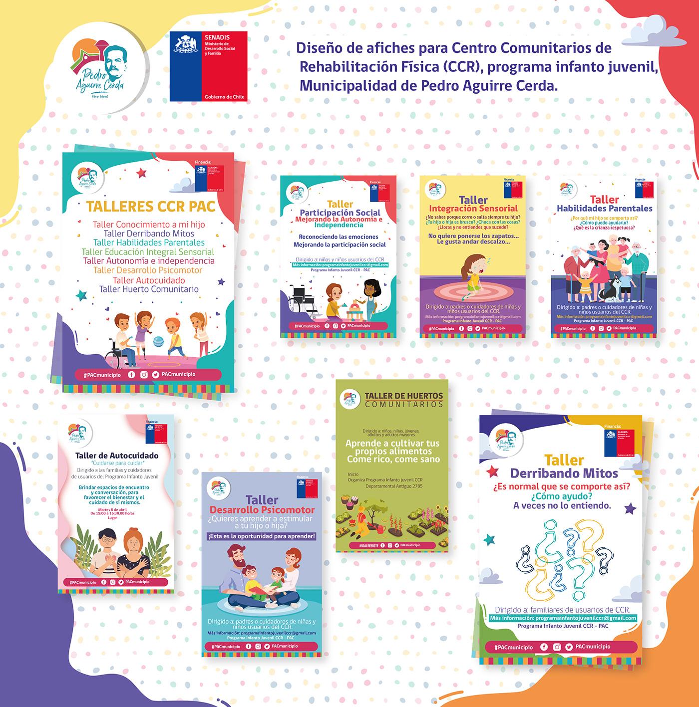Afiches Campañas de salud CCR chile diseño diseño gráfico gobierno de chile infanto juvenil municipalidad salud