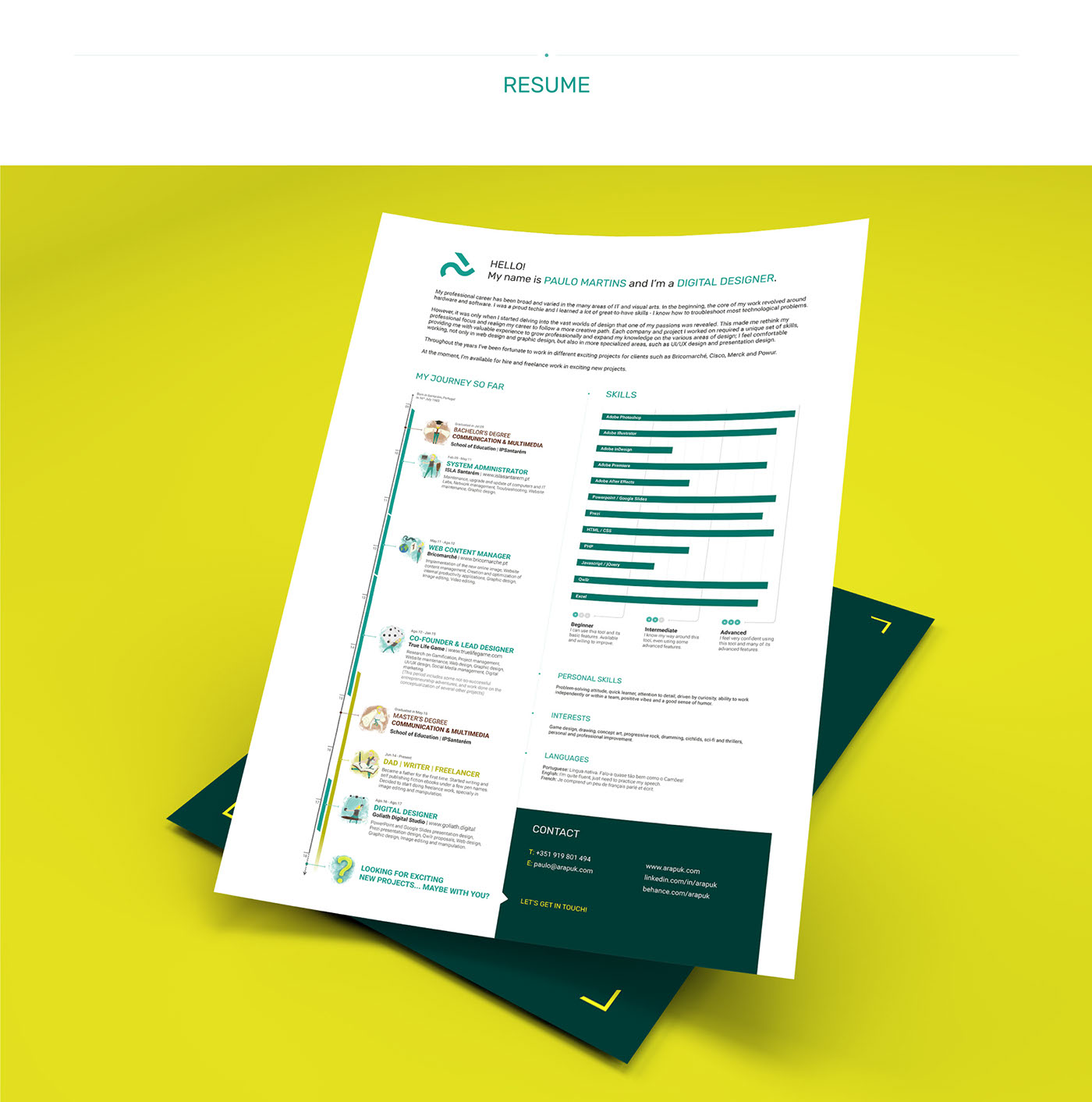 Resume Promotion Curriculum Vitae CV ILLUSTRATION  portfolio identity personal branding  logo