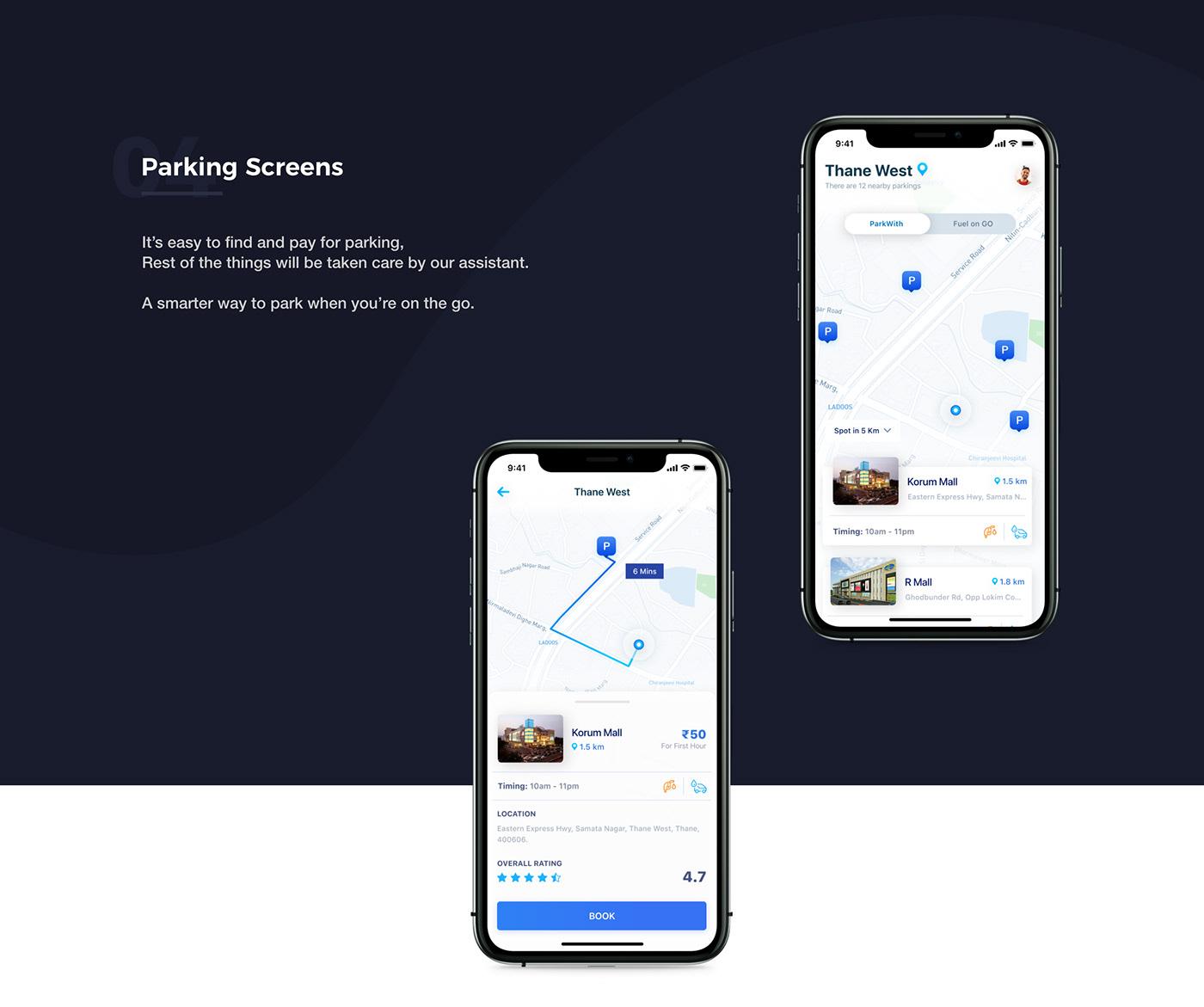 UI ux design app parking fuel Interface mobile portfolio ios