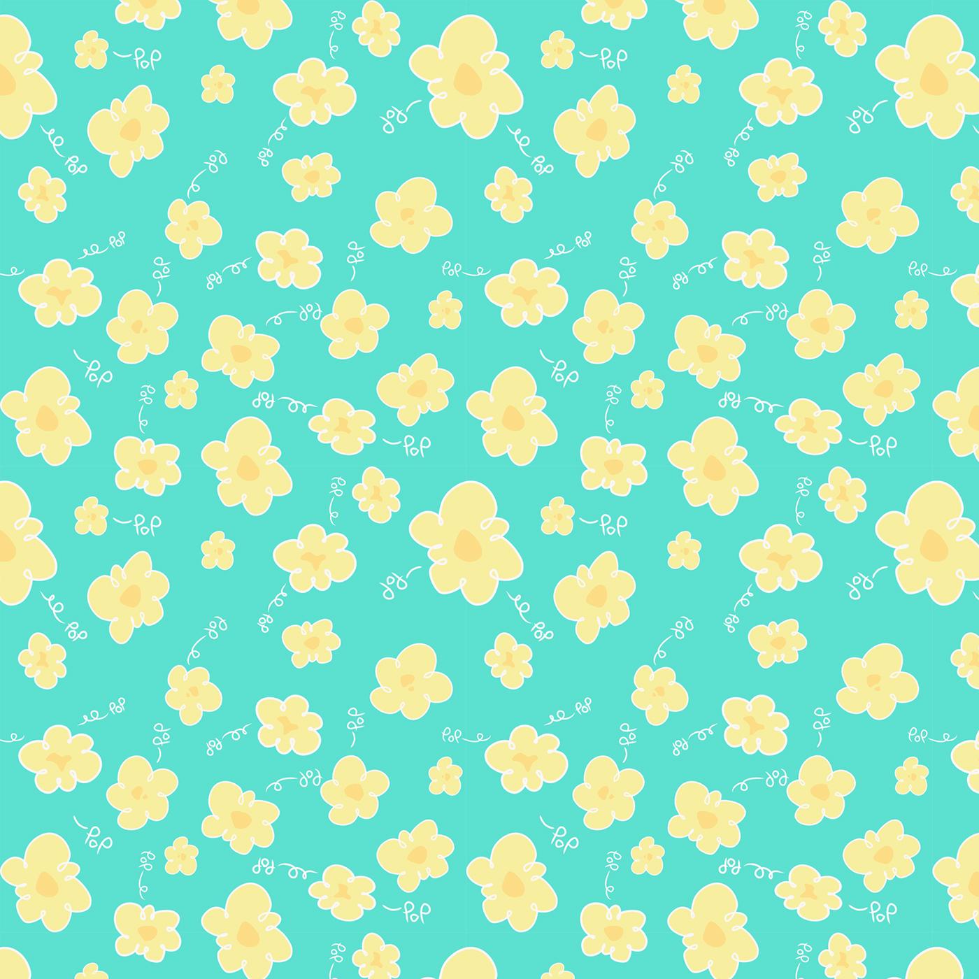 cute pattern-popcorn on Behance