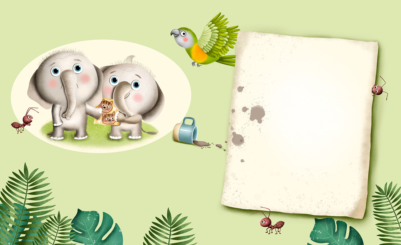africa animals ant childrens illustration elephant parrot