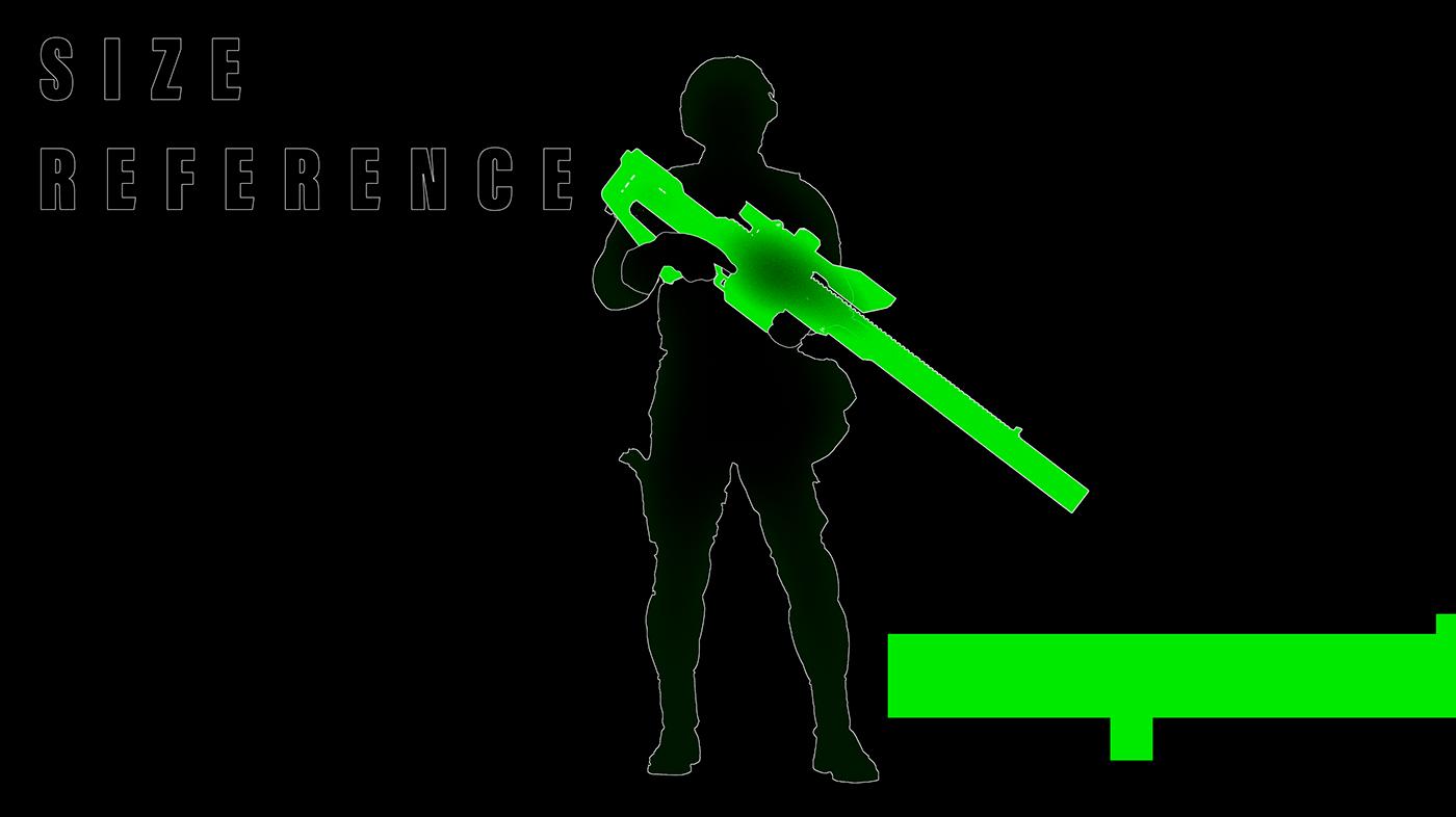 Weapon Sniper rail Gun sci-fi Render octane