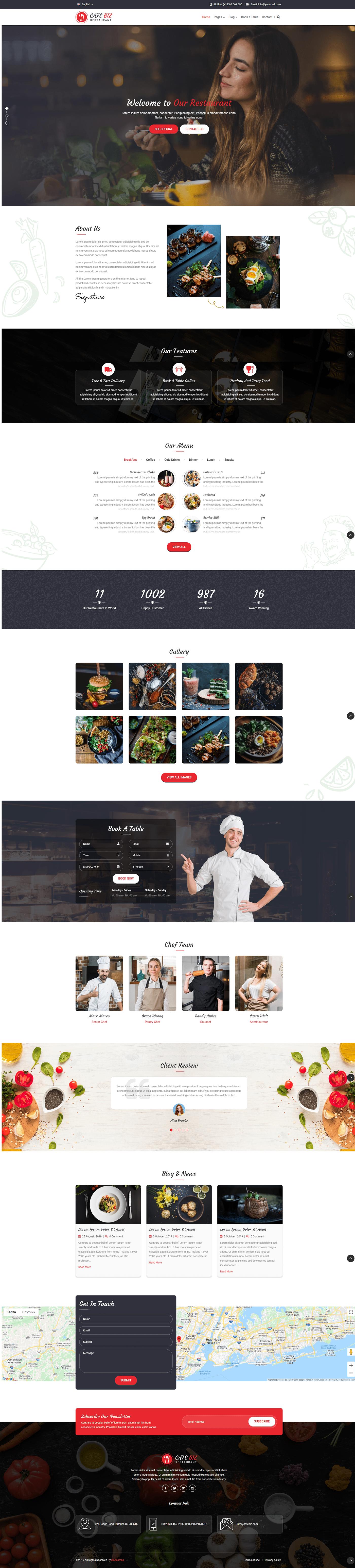 wordpress Theme restaurant Food  bar clean backery pagebuilder cooking