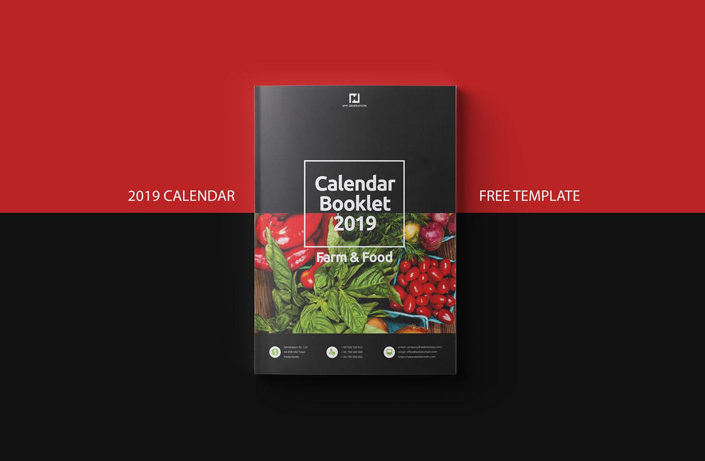 Calendario 2019 Illustrator.Free Calendar 2019 Indesign Template On Behance