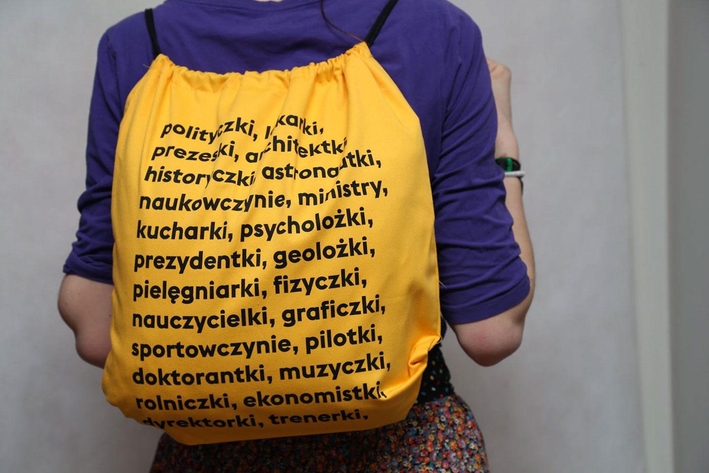 Manifa językpolkisięodmienia jedźjakbaba językpolki feminism bagdesign backpack