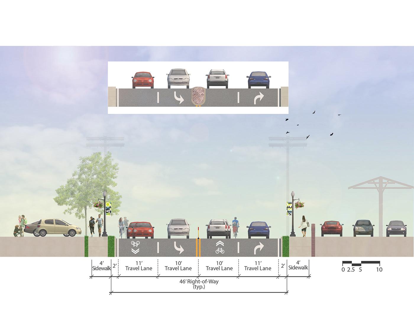 architecture design planning section streetscape transportation Urban Design