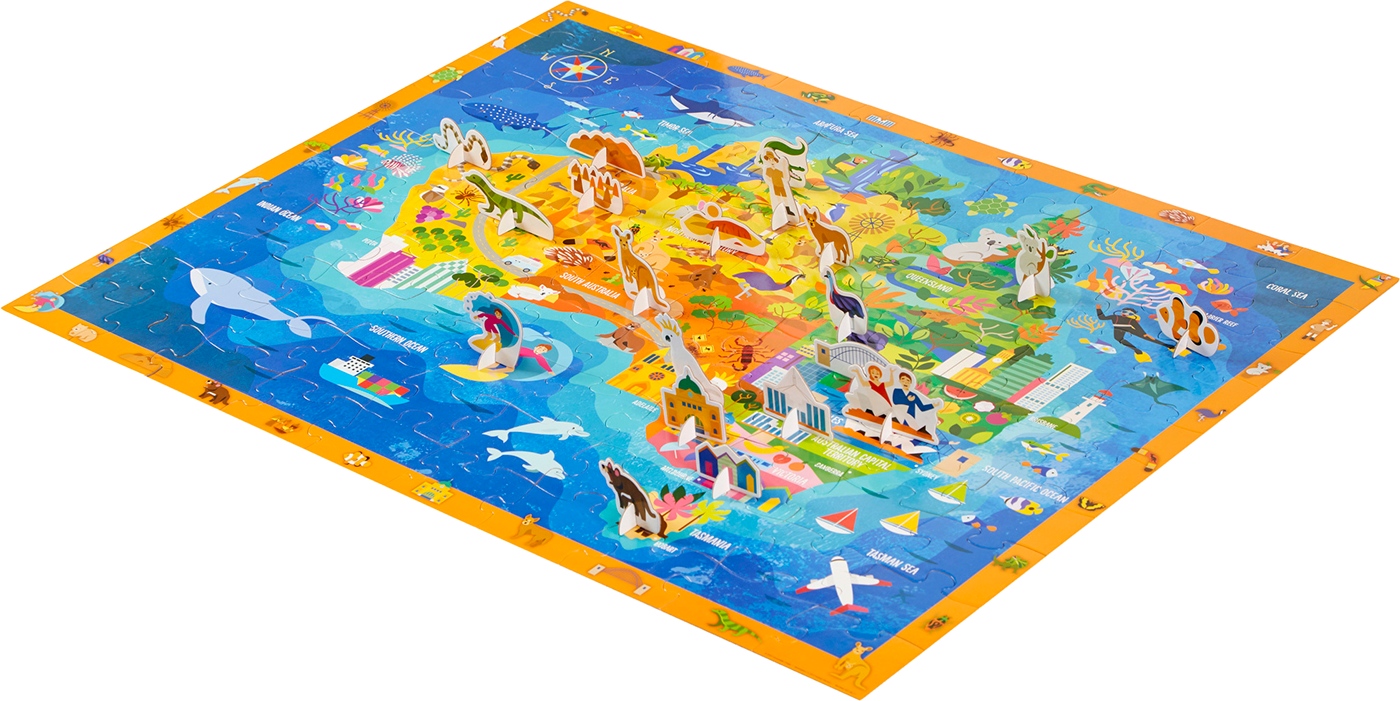Map Of Australia Jigsaw Puzzle.Discover Australia Jigsaw Puzzle Illustration On Pantone Canvas Gallery