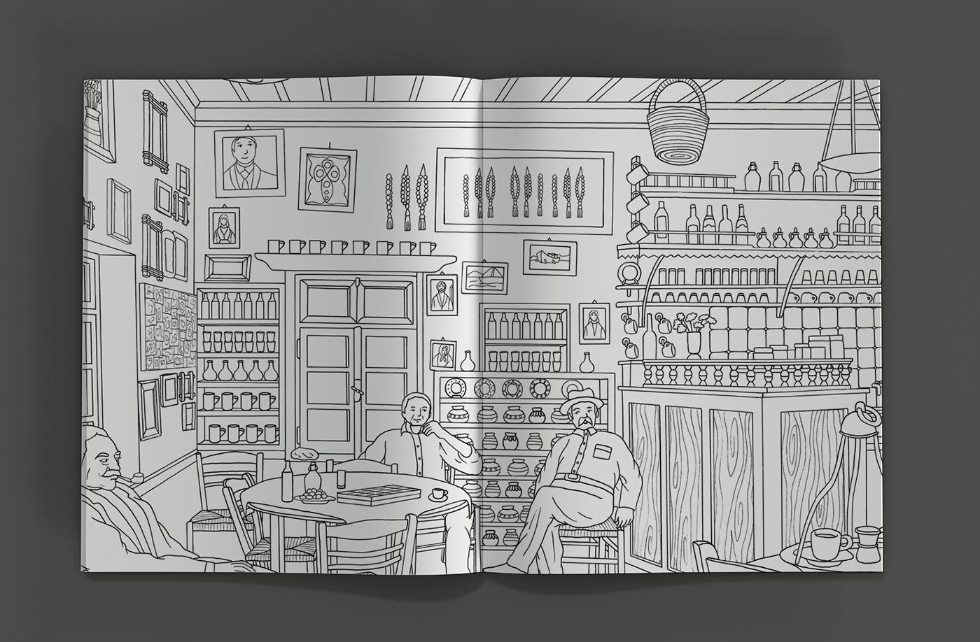 ILLUSTRATION  coloring book Greece anti stress