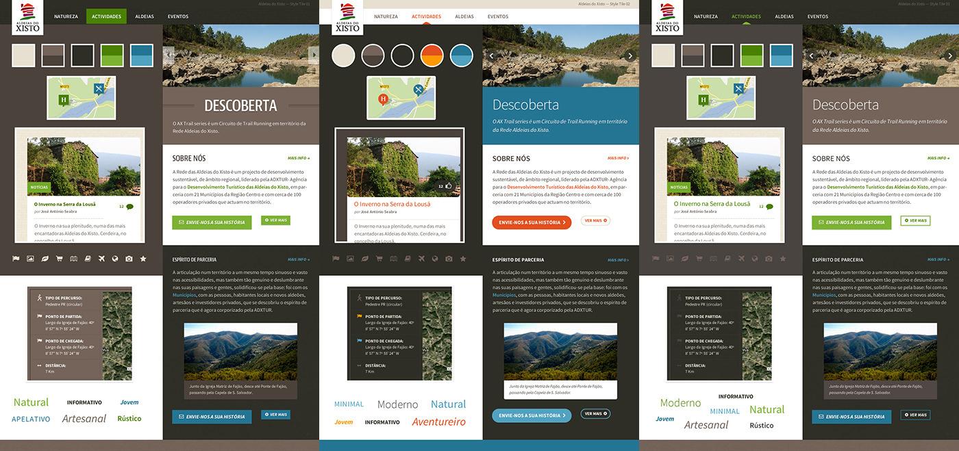 aldeias xisto schist villages Portugal region center Style Guide Style Tiles wireframes Sitemap