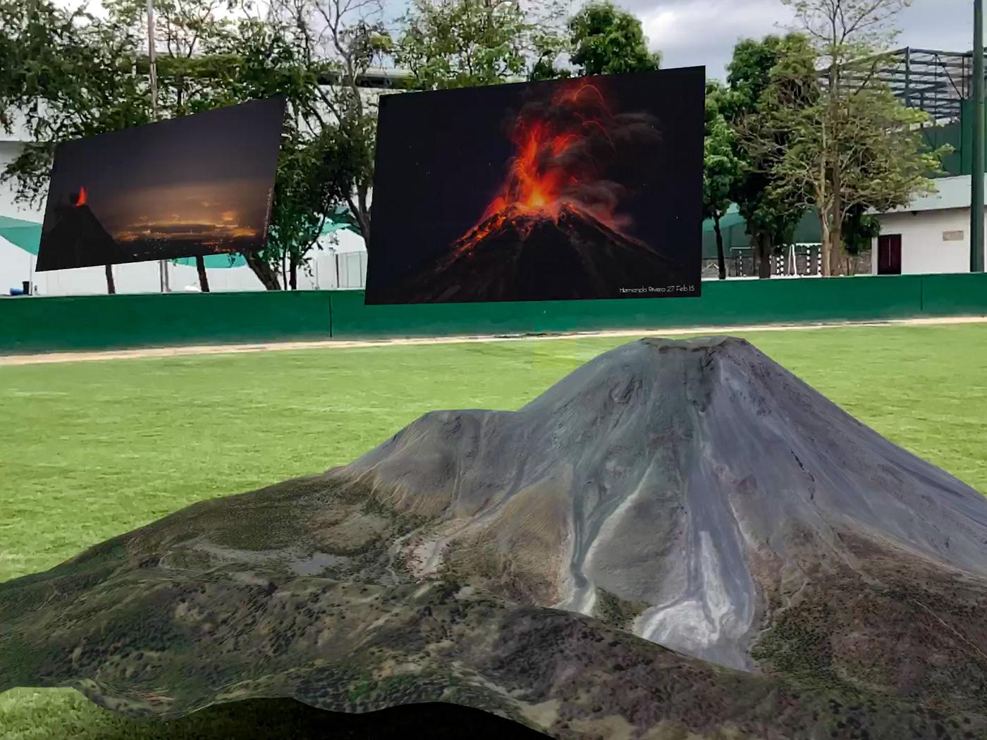 Modelo en Realidad Aumentada del Volcán de Colima con fotografías de Hernando Rivera.