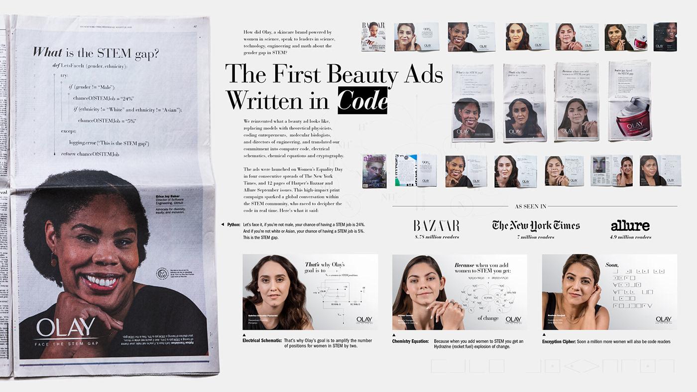Advertising  beauty creative Creative Direction  design magazine Olay press print typography