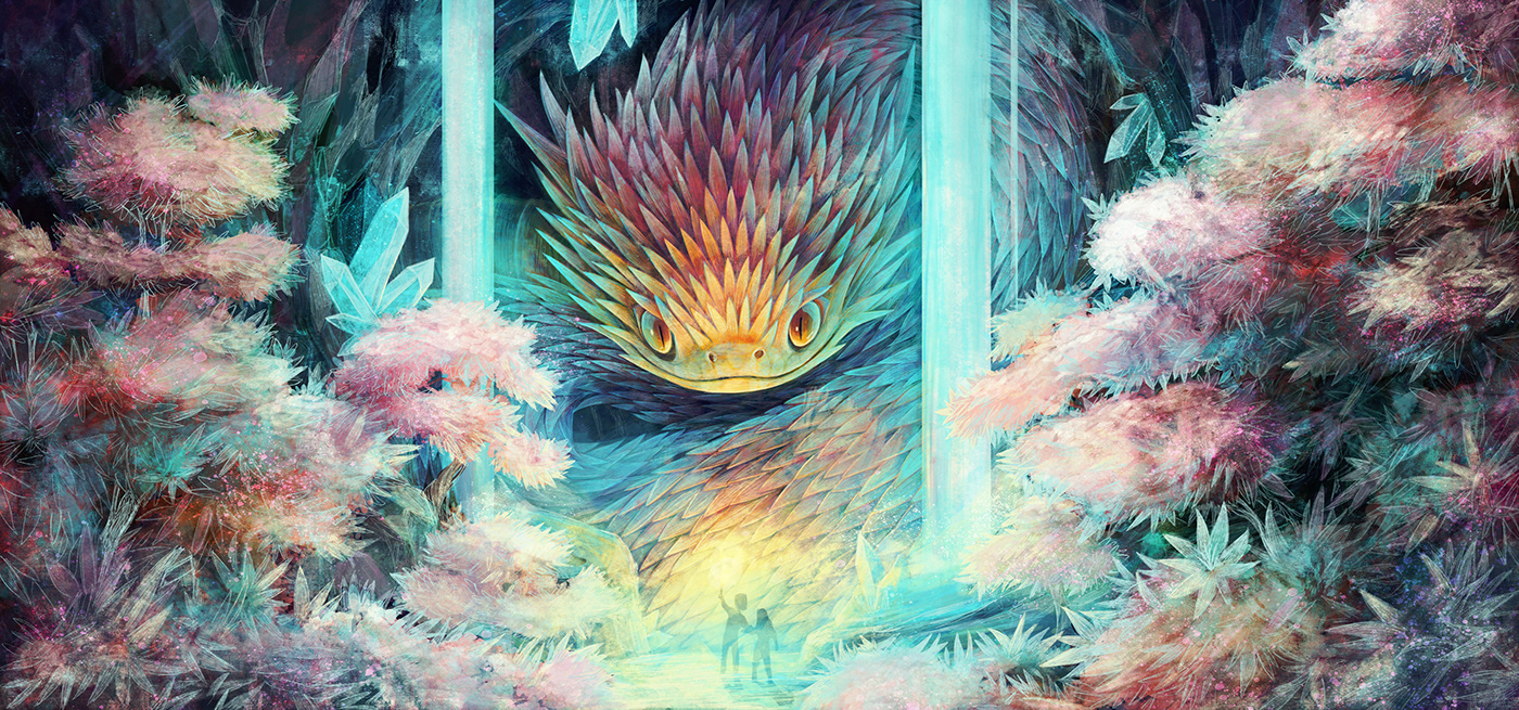advetnture childrens book crystal fantasy ILLUSTRATION  Magical mystery serpent snake waterfall