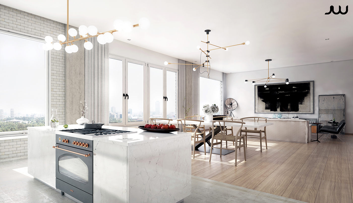 Central park view new york apartment cgi on behance - Cuisine ouverte sur le salon ...