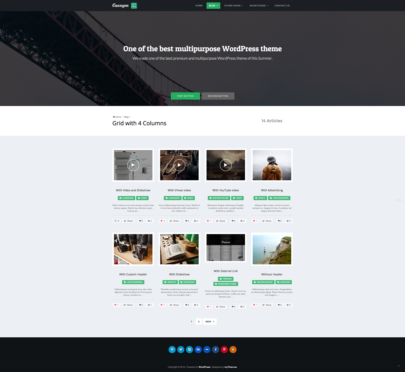 bootstrap CSS 3 custom footer Custom Front Page custom header Custom Posts disqus comments facebook comments HTML 5 Custom Layouts video thumbnail Header Video