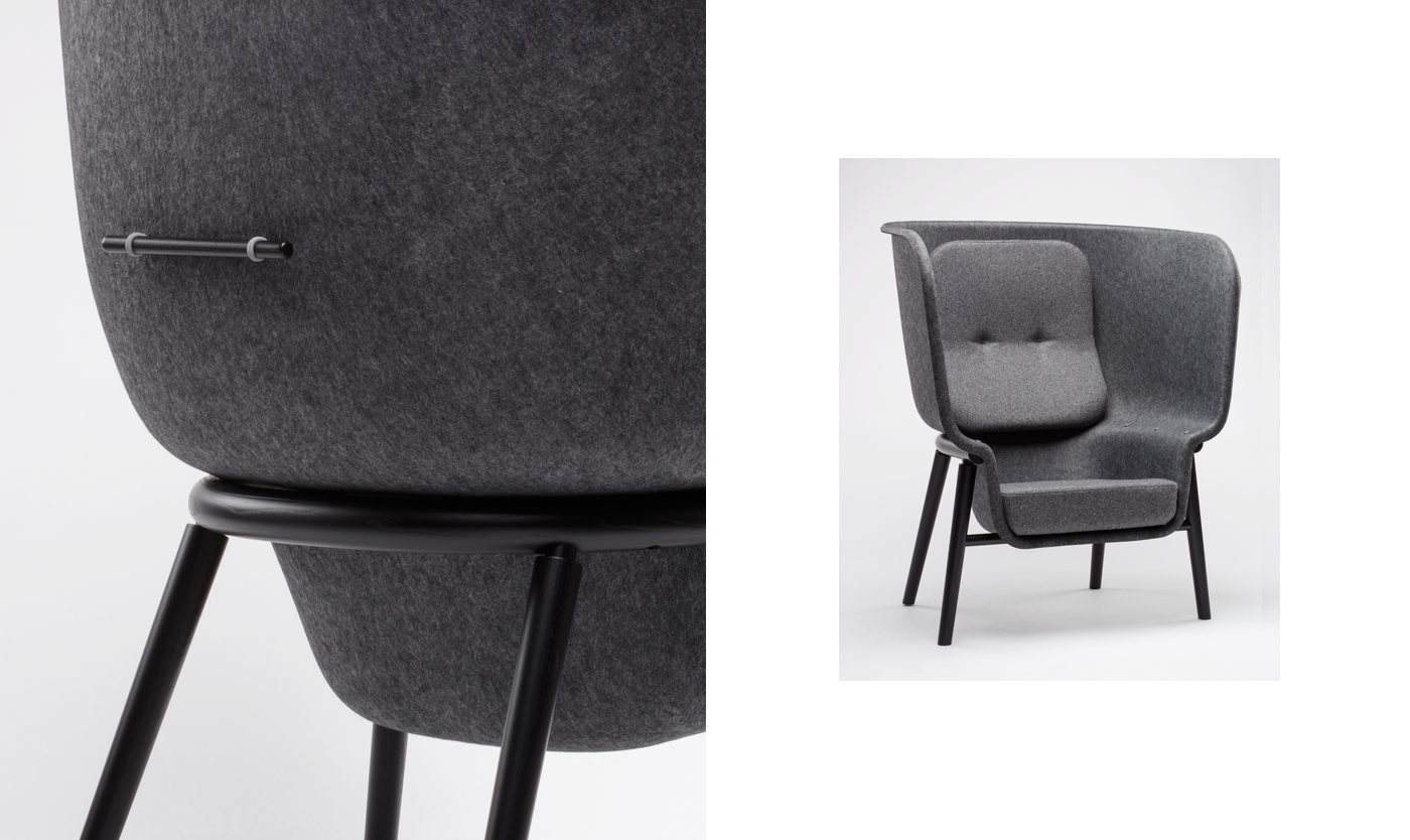 Sustainable environment dutch furniture grey Custom Privacy Chair arm chair wood felt chair Pet recycling