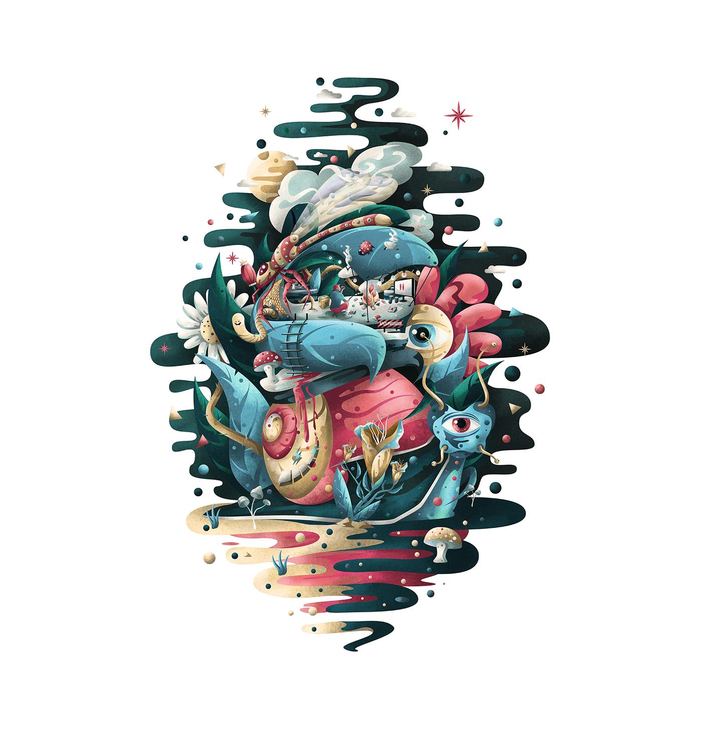 Nature animals Landscape brushes Vectorillustration SKY sea colorful fantasy Drawing