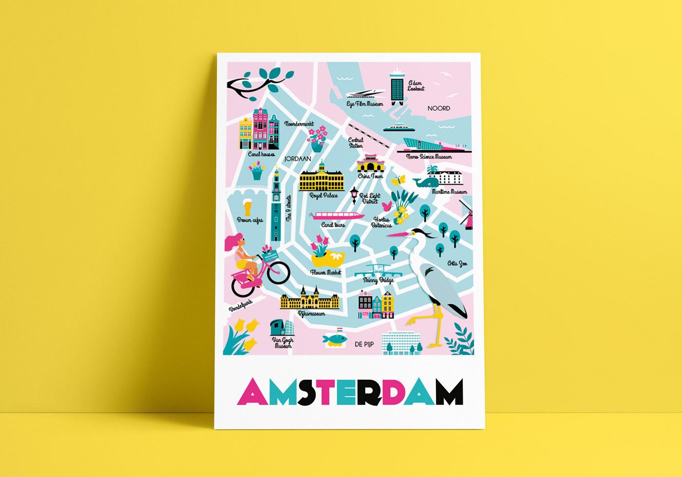 Amsterdam illustrated map postcard