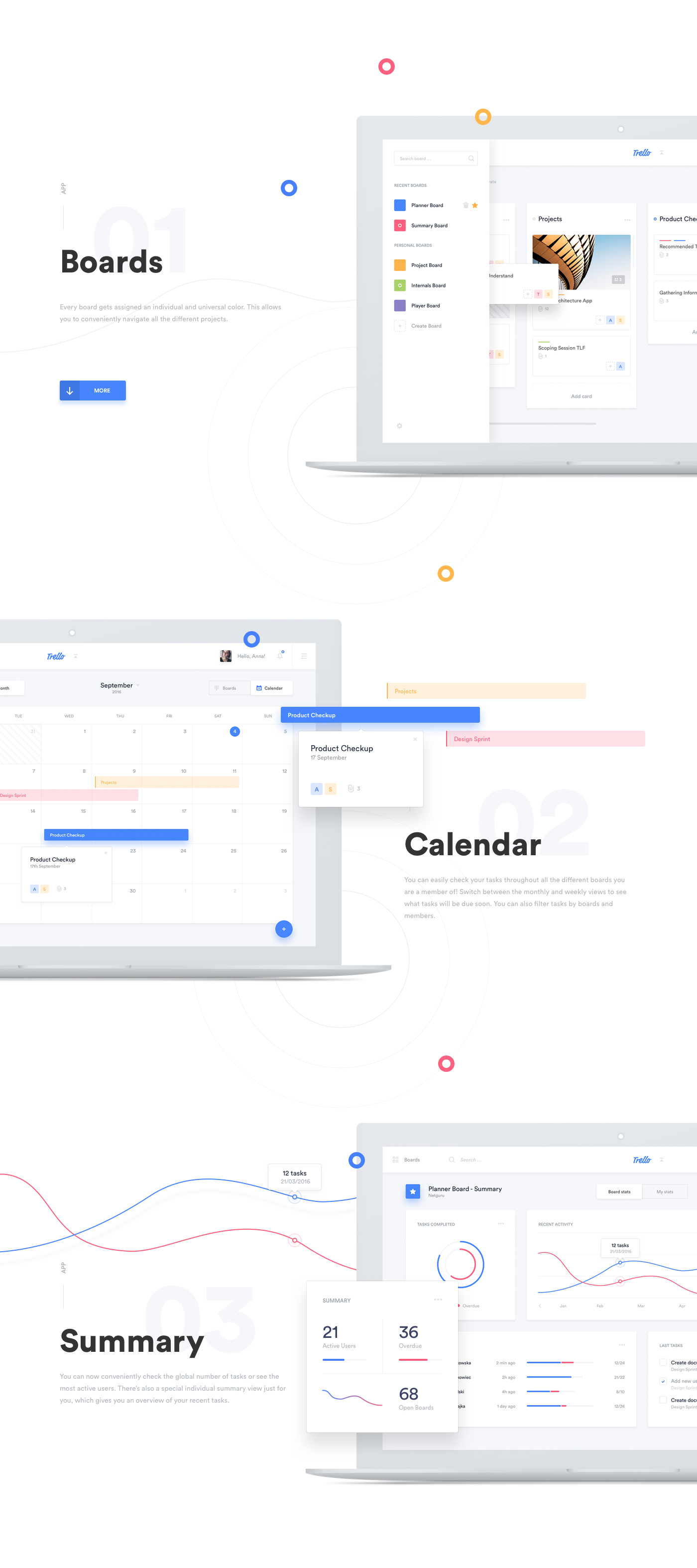 calendar task Trello redesign management dashboard search landing page statistics icons