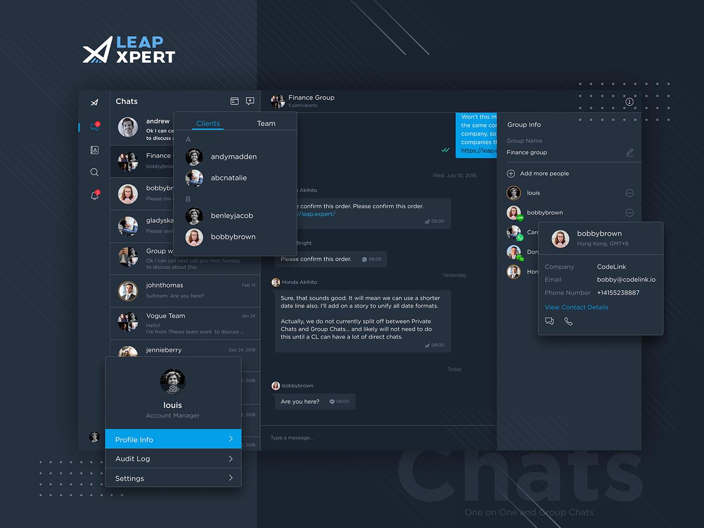Chat,communication,dark,UI,ux,integrations,profile,users,list,Web