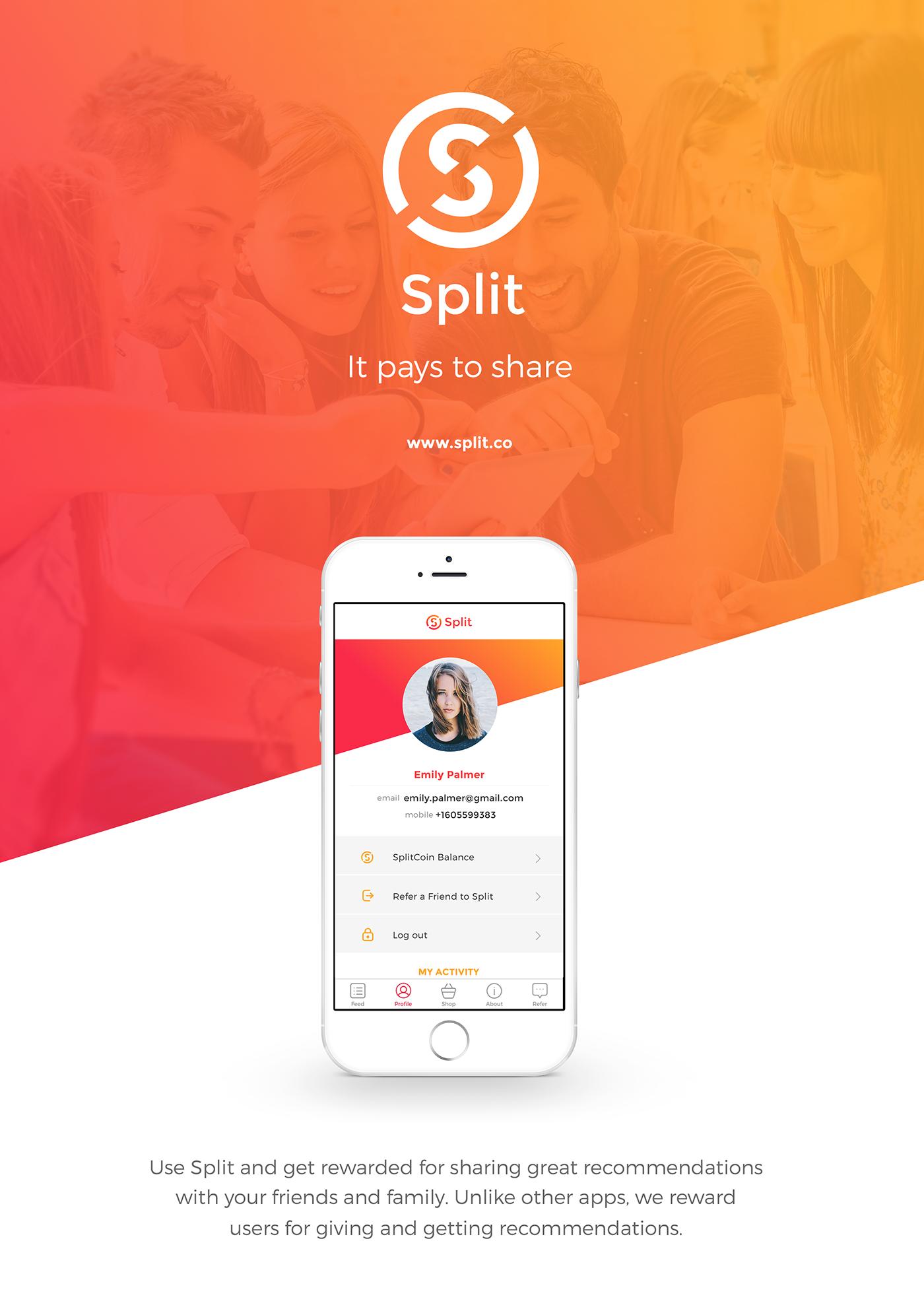 split it pays to share ios app on behance