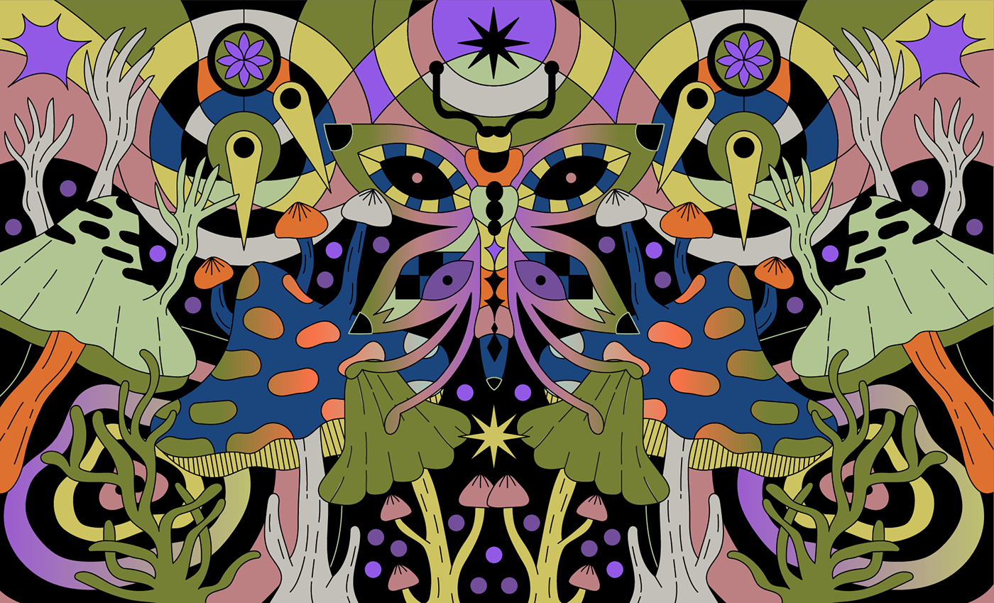 animation  butterfly gif ILLUSTRATION  mushroom pattern Plant poster psychedelic vector