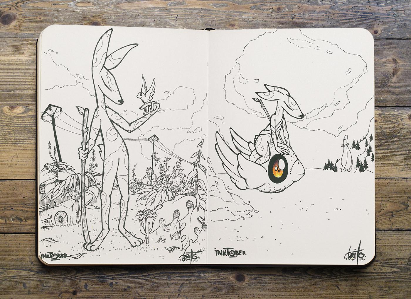 inktober 2015 moleskine Landscape creature caractère Nature animal