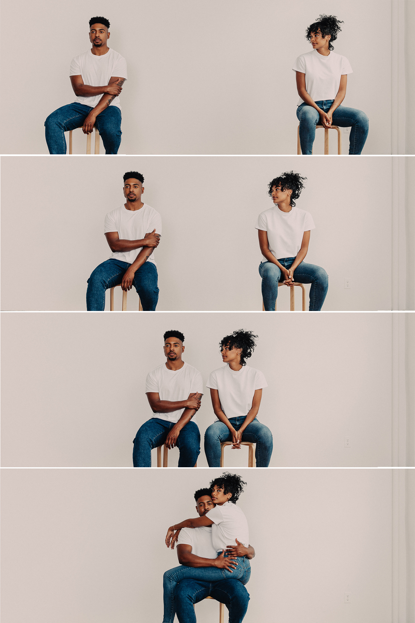 couple editorial engagement Intimate Love model Studio Photography Surprise Engagement