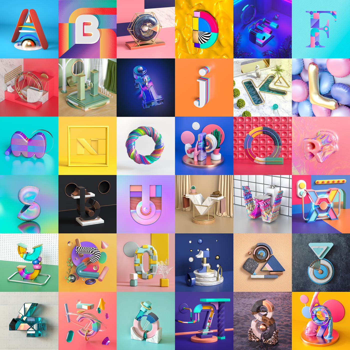 36 days 3D c4d cinema4d CGI type letters colors art direction  instagram