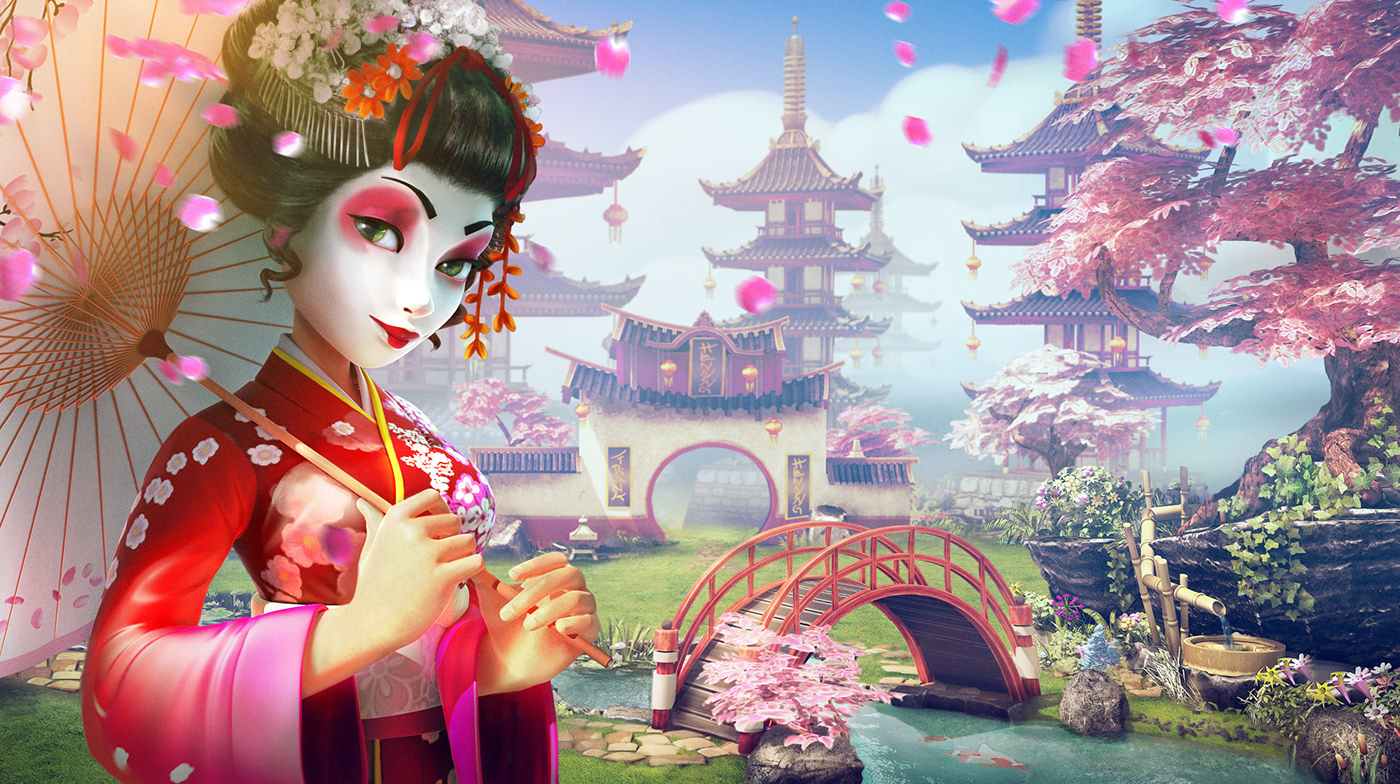 Forge Of Empires spring cherry Cherry Blossom sakura asia koi ILLUSTRATION  pink video game