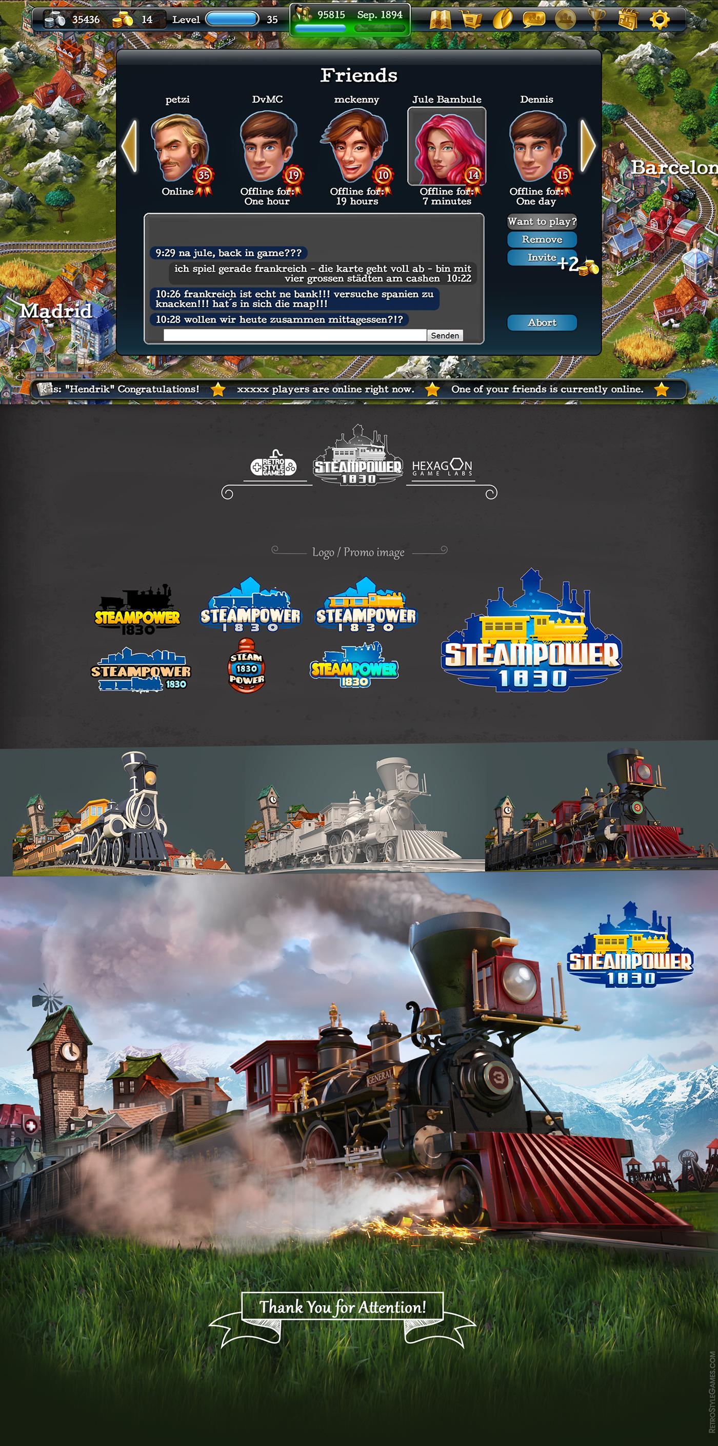 Tycoon railroad Isometric buildings Steam train GUI 3D Overpaint