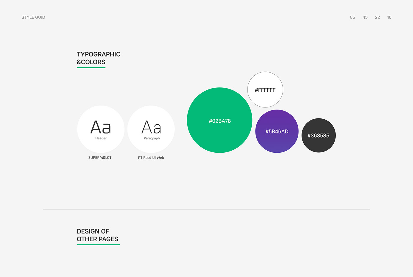 Style guid interface, color for web design, inspiration behance, Pinterest