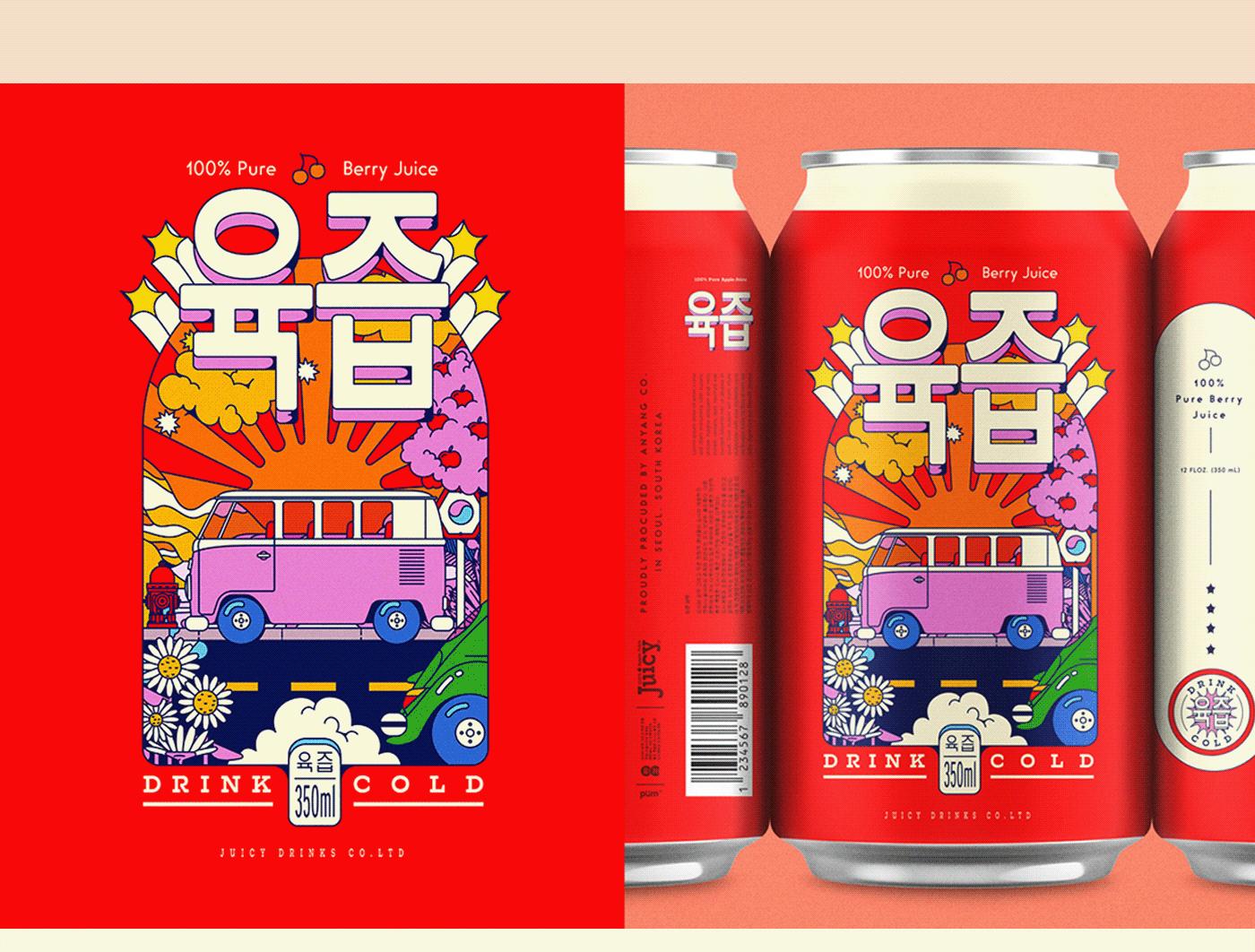 can colorful hippie ILLUSTRATION  juice k-pop Korea Packaging products volkswagen