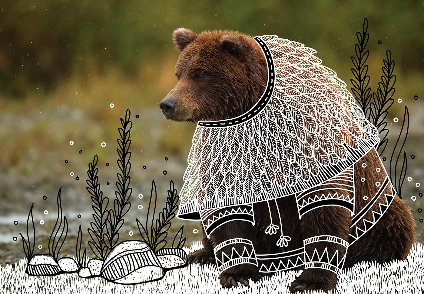 animal bird black and white doodles doodling forest illustrations Nature tribal zentangle