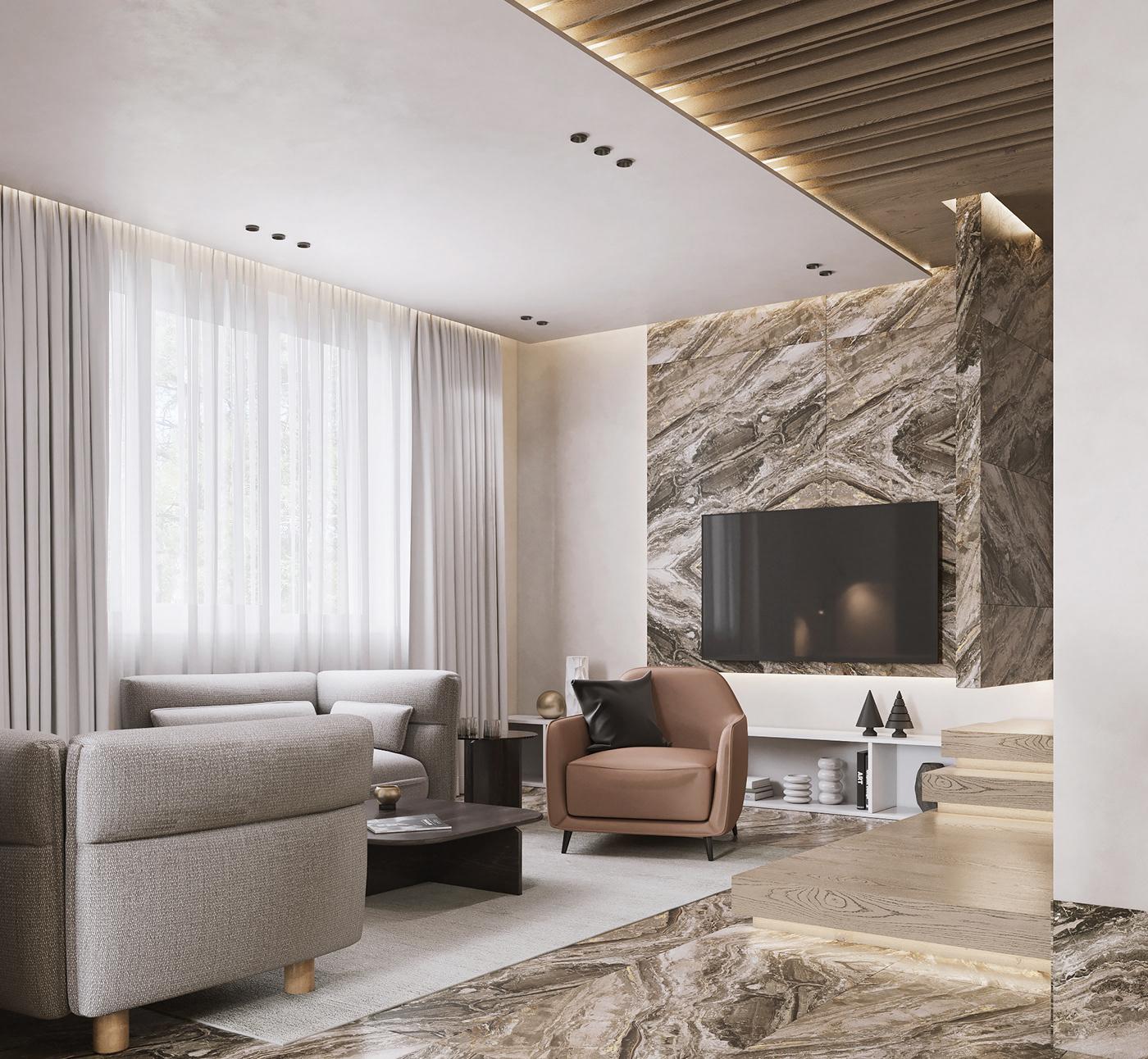3dsmax CG corona Interior Minimalism Render Townhouse visualization