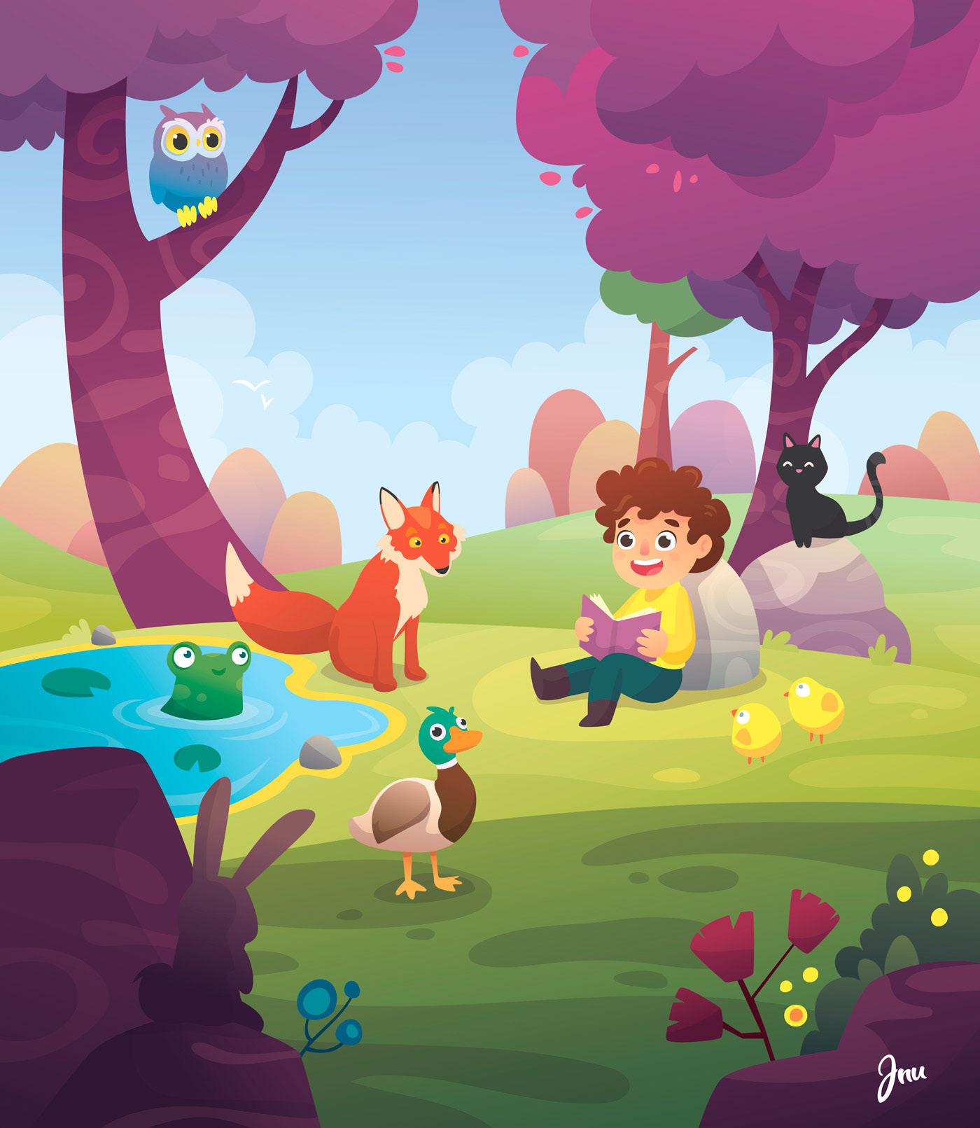 ilustracion infantil arte characters personajes animales kids